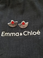 Anne Thomas Cuzco Earrings Silver/Red