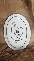 "Creative Co Op ""Voila"" Oval Ceramic Plate"