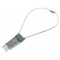 Maddy Turquoise Fringe Silver Necklace