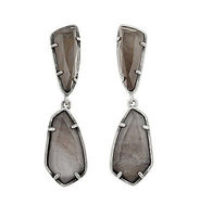 Kendra Scott Grey Pearl and Antique Silver Earrings