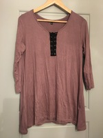 Dusty rose and black lace up top