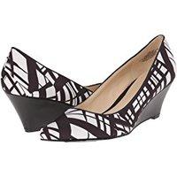 Black White Print Wedge Heels Pumps Shoes