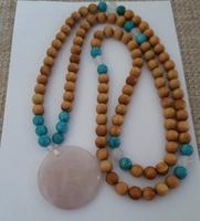 Sandalwood, Turquoise & Rose Quartz Pendant Necklace