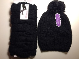 Knit Hat and Legwarmers in Black