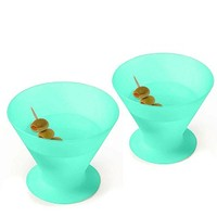Set of 2 Unbreakable Silicone Martini / Cocktail Glasses or Ice Cream Bowls