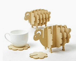 The Puzzled Sheep Wooden Coaster Set