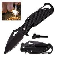 Pocket Knife With Fire Starter & Carabiner Clip