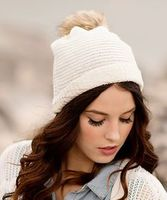 Kira knit beanie with fur pom-pom
