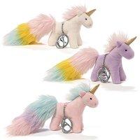 Gund White Unicorn Rainbow Poof Tail Keychain