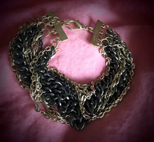 Black & Gold Multi Chain Bracelet from Little Black Bag
