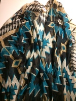 Poncho style Scarf Teal and Black