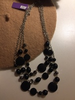 Black and Silver 3 strand beaded Necklace