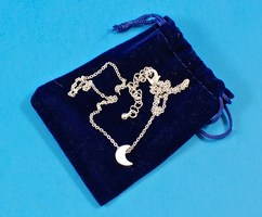 Mini Silver Crescent Moon Necklace