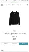 Rev Kristen open back sweater size M