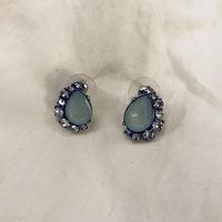 Aqua Rhinestone Post Earrings
