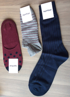 Marathoner Ankle Needle Stripe socks (shown middle)