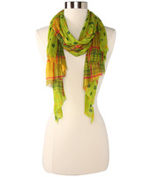 Betsey Johnson Pleated Checker Dots Scarf