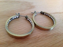 Antiqued brass hoop earrings with crystals inside NEW