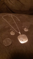 Textured Satin Finish Silver tone necklace and earring set