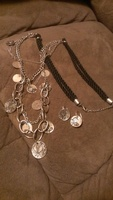 Long Necklace and Earring set with Silver floral motif