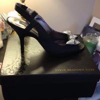 Steve Madden Luxe Glitz Black Slingback Heels