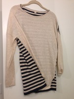 Vanilla Bay Cream sweater with stripes on the back