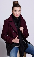 Under Skies Baby it's Cold Outside Coat in Burgundy with vegan leather bottom