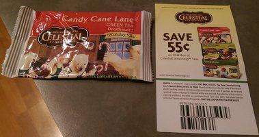 Celestial Seasonings Candy Cane Lane Decaf Green Tea & Coupon