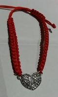 Red Rhinestone Heart Cord Bracelet