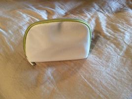 La Mer white and green cosmetic bag