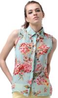 Flower Printed Sheer Chiffon Shirt