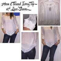Hem & Thread Ivory Top with Lace Sleeves