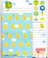 Japanese Kawaii 'Lovely Duck' Letter Set (12 sheets, 6 envelopes, 6 stickers)