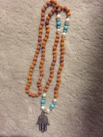 Hamsa Hand Necklace with Pearl