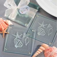 Set of 2 Beach-Themed Glass Coasters
