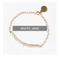 Tribe Alive Glass Bead Bracelet in White Jade