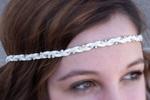 White Suede & Rhinestone Headband