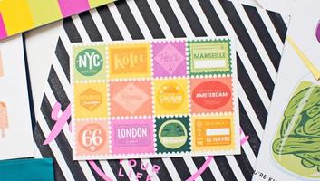 Travel Stamps Postcard