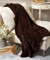 Bliss Home & Design Faux Fur Throw in Dark Chocolate