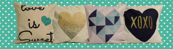 Geometric Heart Linen Pillow Cover