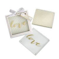 """Kate Aspen Set of Two """"Love"""" Gold Glass Coasters"""
