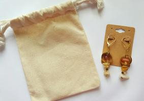 Red Onyx, Yellow Jade & Brass Earrings