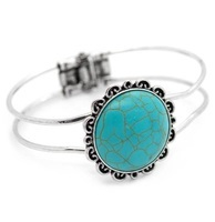 Turquoise & Silver Hinged Bracelet