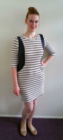Lumiere Gray and Cream Striped Knit Dress