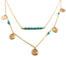 "Selena ""Divine"" Layered Turquoise Necklace GOLD"