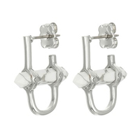 Rebecca MinKoff RAW CRYSTAL HUGGIE EARRINGS, IRIDIUM/HOWLITE