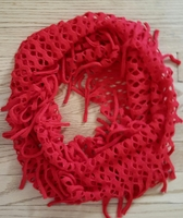 Bright Red Soft Infinity Fringe Scarf