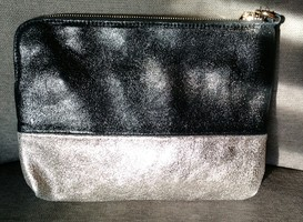 Silver & Black Leather Clutch