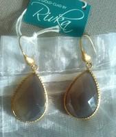 Rivka Friedman 18K Faceted Grey Chalcedony Teardrop Earrings