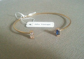 Alta Vintage Gold Blue & White Crystal Open Bangle